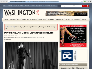 Washington Life Magazine promotes Capital City Showcase show at Riot Act