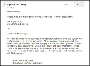 20120708-Feedback from Improbably Comedy