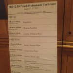 Agenda of the CLPSS 2013 Youth Professionals Conference featuring comedy by Shahryar